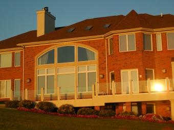 Sunset lakeside house